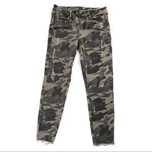 Zara distressed camo camouflage denim jeans